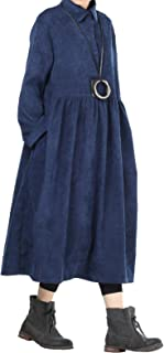Women's Corduroy Pleated Dress Button-up Spread Collar Shirt Dress