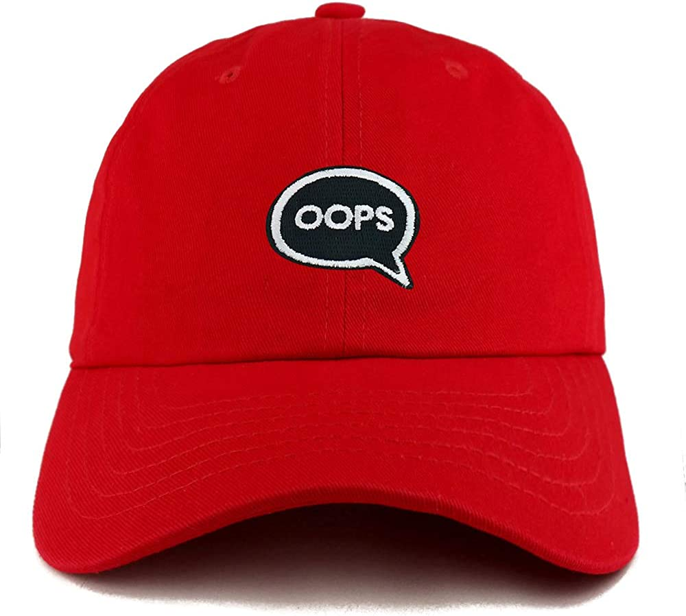 Trendy Apparel Shop Oops Patch Solid Cotton Unstructured Dad Hat