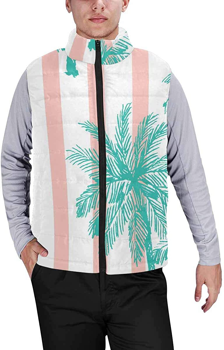 InterestPrint Warm Outdoor Sleeveless Stand Collar Vest for Men Floral Colors