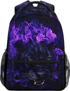 Panther Head In Flames Backpack School Bag Travel Daypack Rucksack