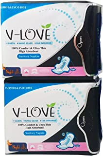 VLOVE Overnight Long Sanitary Pads with Nano Silver and Negative ion Strip,Wings,Big Absorbency-16Pieces (Pack of 2)