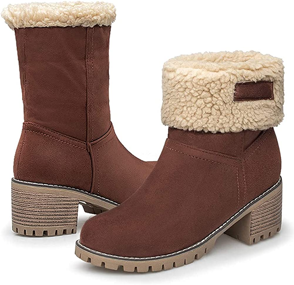 GOUPSKY Winter Snow Boots for Women Warm Suede Chunky Block Heel Round Toe Faux Fur Outdoor Mid-Calf Ankle Bootie