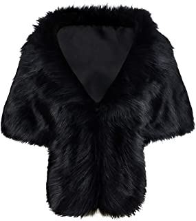 Iristide Faux Fur Shawl Wedding Bridal Warm Stole for Bride and Bridesmaids Wraps Shoulder Winter for Women and Girls