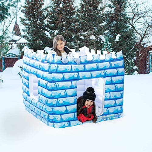 SNOWCANDY Inflatable Snow Castle Fort, Snow Toys for Kids Outdoor, Waterproof, Durable, Easy to Inflate & Deflate, Hours of Fun
