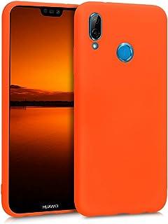 kwmobile Funda Compatible con Huawei P20 Lite - Carcasa de TPU Silicona - Protector Trasero en Naranja neón