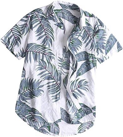 Men's Casual Short Sleeve Fashion Button Down Leaf Print Plus Size Tropical Beach Hawaiian Top Blouse