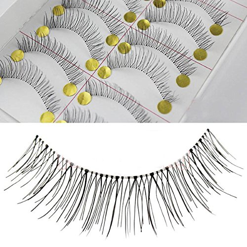 50 Pairs Natural Look Taiwan Handmade Fake False Eyelashes Eye Lashes Transparent Stem High Quality #218 Classical Eyelashes - MZZH20001 by BMGIC