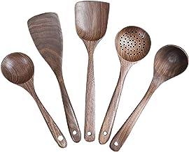 طقم أواني طهي خشبية يدوية الصنع من ORYOUGO مع مقبض طويل من خشب الجوز الأسود الطبيعي ومصفاة كبيرة من ملعقة طهي غير لاصقة