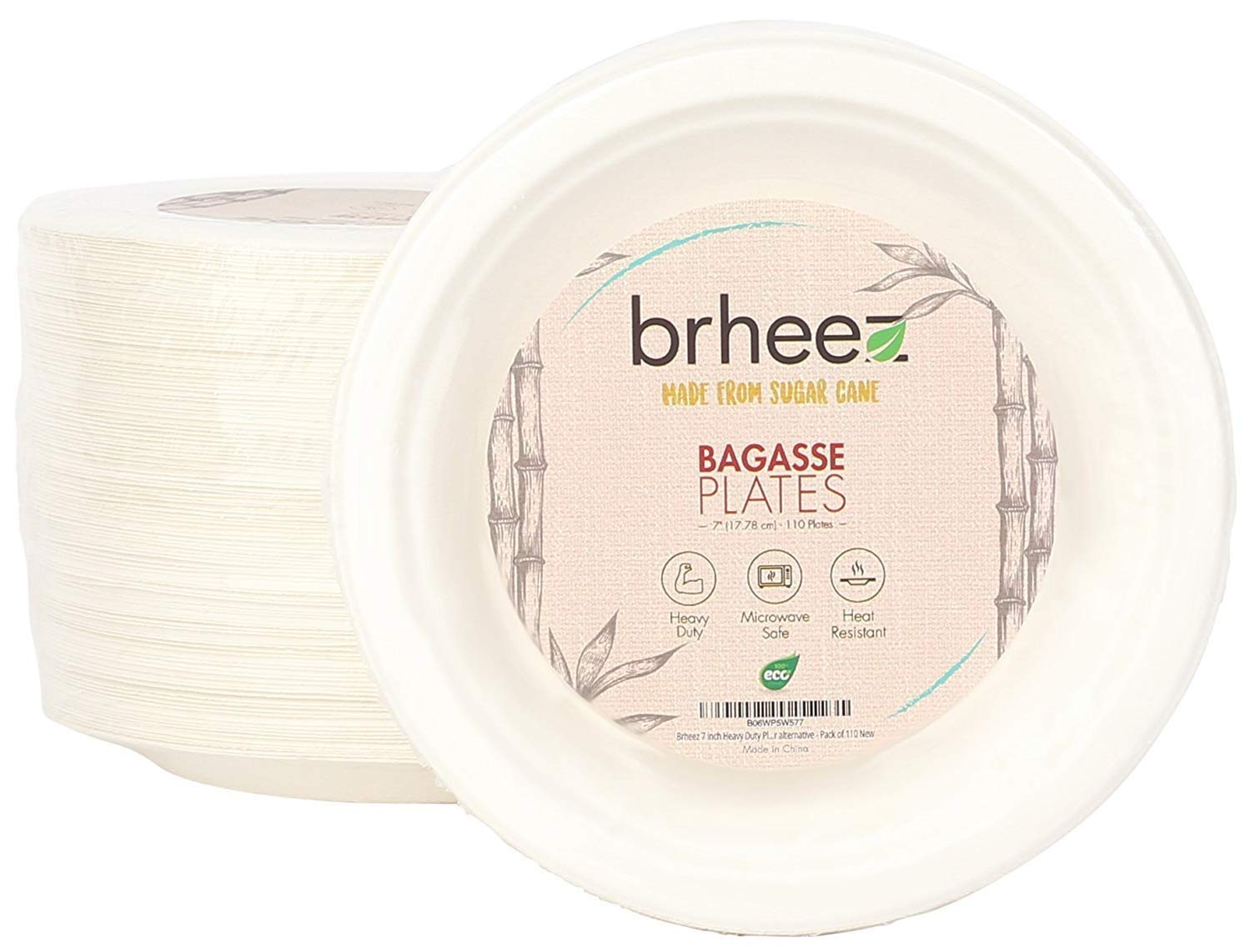 Brheez - Platos redondos desechables biodegradables para caña de ...