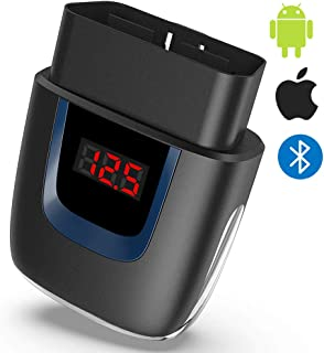 OBD2 Scanner Bluetooth for iPhone, Bluetooth 4.0 OBDII Scan Tool for Android iOS (with Own Developed APP), Car Code Reader Diagnostic Tool to Clear Your Check Engine Light, Compatible with Torque Pro