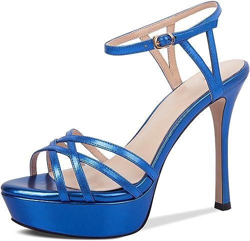 JIANXIN Sandales D'été Femme Sexy Talons Hauts Bien avec Plate-Forme Imperméable Fond épais Bout Ouvert Sandales Femme (Couleur   Bleu, Taille   EU 35 US 5 UK 3 JP 22.5cm)