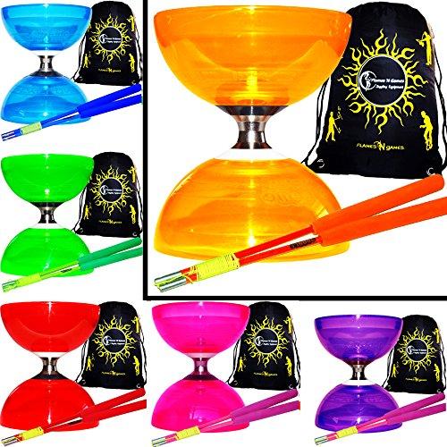 Juggle Dream Cyclone Quartz II Diabolo Set – Pro Diabolo – Triplo cuscinetto a sfera + bacchette in fiber e corda + Diabolos borsa da trasporto (Arancione Diabolo/Arancione Bacchette