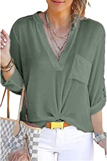 Aooword Women's Pockets Chiffon V-Neck Roll up Pullover Tunic Tops Army Green 2XL