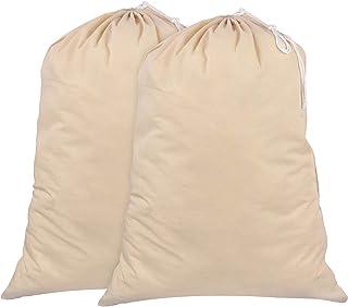 SweetNeedle - Lot de 2 - 100% coton Extra-Large Sacs à linge résistants en couleur naturelle - 71 CM x 91 CM (28 po x 36 p...