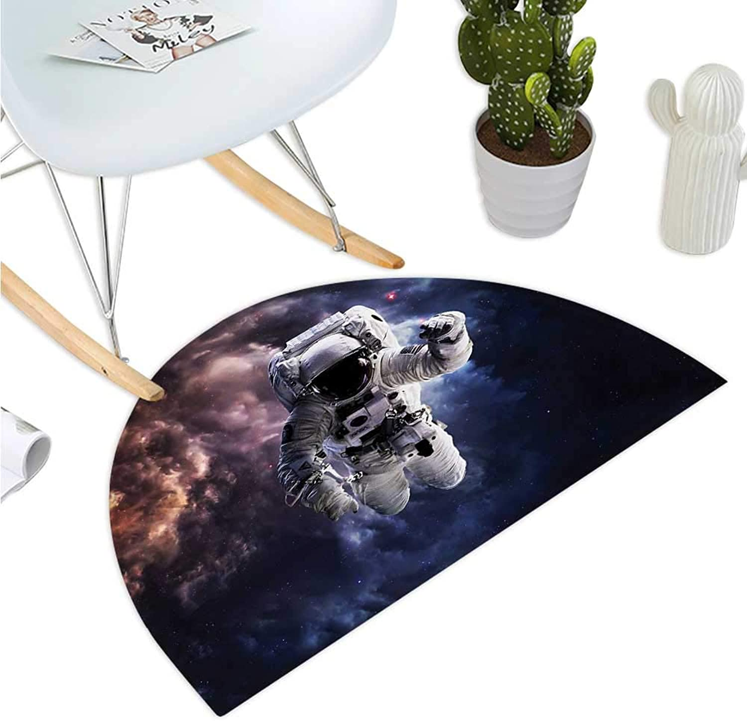 Astronaut Half Round Door mats Realistic Space Suit in Space Hovering in Emptiness Space Clouds Stars Bathroom Mat H 47.2  xD 70.8  Night bluee Multicolor