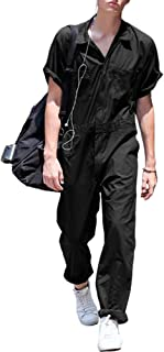 TAO Men Casual Short Sleeve One Piece Overalls Summer Fashion Loose Jumpsuit Zipper Pockets Coveralls