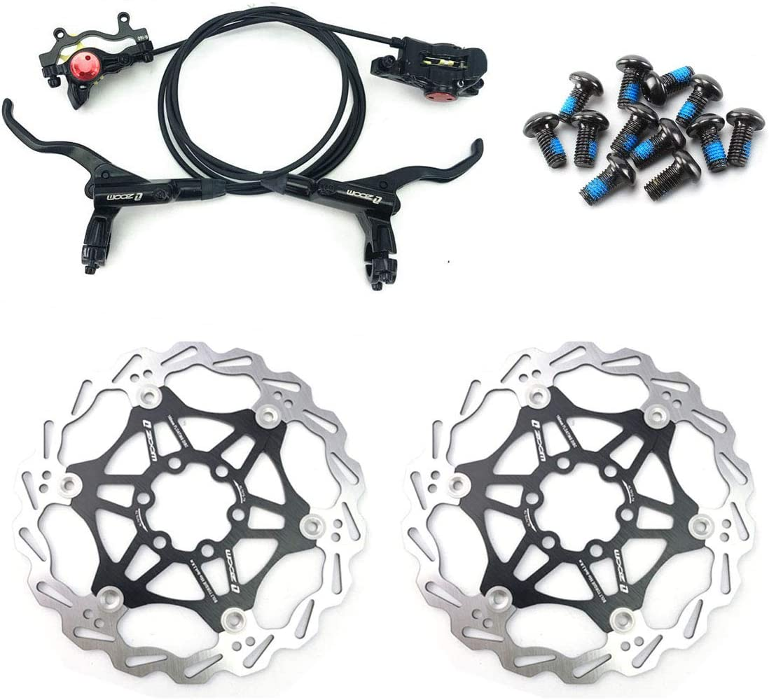 AKANTOR Zoom Hydraulic Disc Brakes Mountain Bike Sets MTB Front /& Rear Set with Floating Disc Rotor 160mm /& Color Bolts