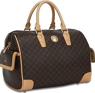 Brown Signature Large Canvas Bowler Boston Bag Handbag w/ Leather Trim
