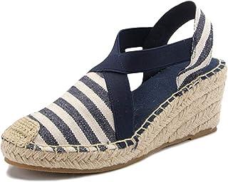 0437b47b82937c Tomwell Sandales Femmes Mode Espadrille Lanière Sandals Talon Compensé  Plateforme Été Casual Romaines Sandals Doux