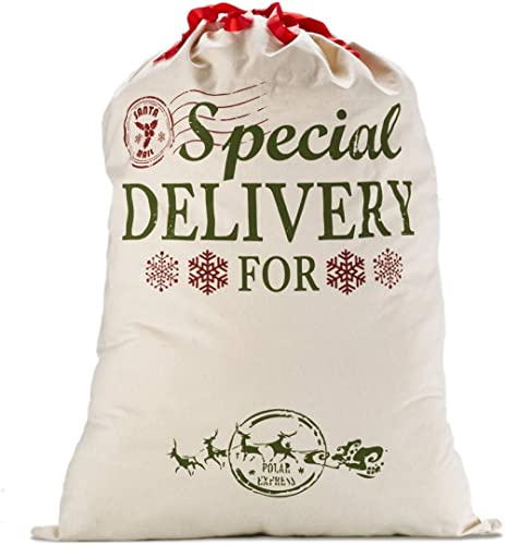 """Personalized Canvas Bags with Red Drawstring Extra Large 39.4"""" X 27.6"""" Santa Sacks for Xmas Stockings Stuffers Presen..."""