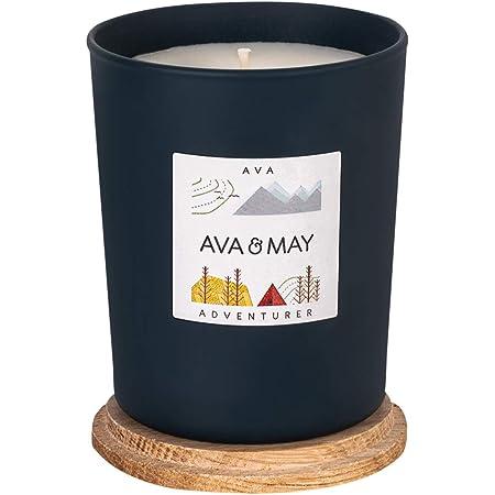 AVA & MAY Candela profumata AVA (180g) – Candela in Cera vegetale Dentro a Un vasetto di Vetro – Candele Fatte a Mano con cardamomo, Menta e Muschio