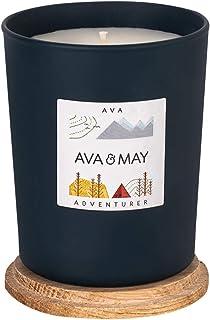 AVA & MAY Bougie parfumée AVA (180 g) – Bougie vegan aux notes boisées de cardamome, menthe et musc, bougie artisanale ave...