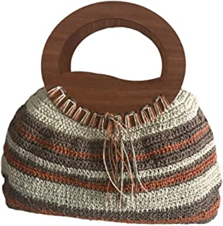 Handmade Paper Roped Bag - With wooden handled - Brown Cream - The