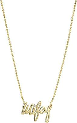 Betsey Johnson Blue by Betsey Johnson Delicate Necklace Chain and 'Wifey' Pendant with Cubic Zirconia Stone Accent