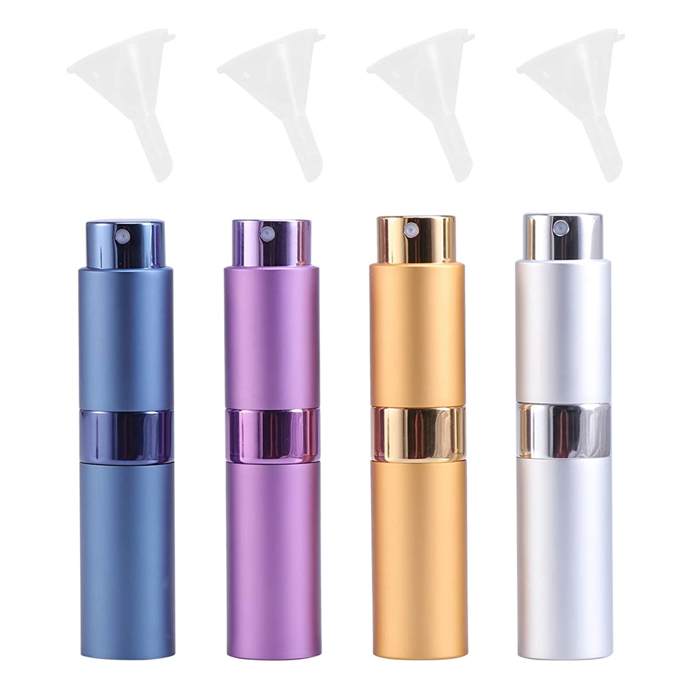 八百屋さん虫を数える試してみるSUPVOX 旅行用小型漏斗付き4本の空の香水スプレーボトル詰め替え式の香水瓶アトマイザー8ミリリットル(ゴールデン+シルバー+パープル+ブルー)