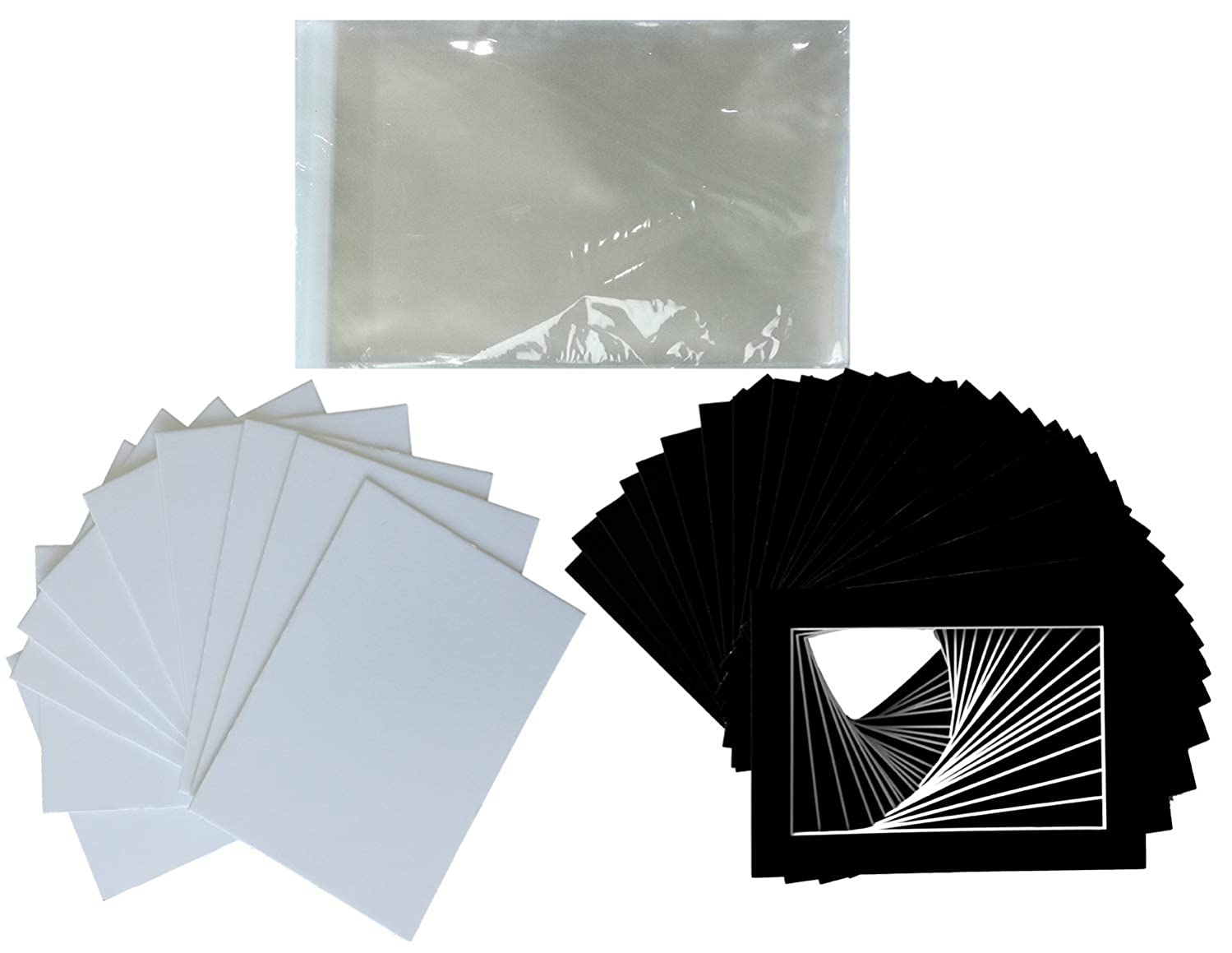 Hall of Frame Pack of 25 Black Pre-Cut Picture Mat 5x7 inches for 4x6 Photo White Core Bevel Cut Mattes Sets + Backing Board + Clear Plastic Bags (Pack of 25 Black 5x7 Complete Set)