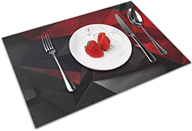 MNBVC Red and Black Abstract Background Placemats Set of 4 for Dining Table Washable Woven Vinyl Placemat Non-Slip Heat Resistant Kitchen Table Mats Easy to Clean