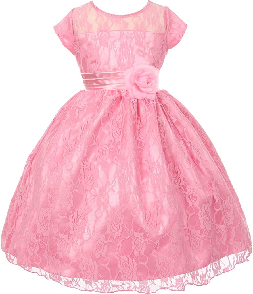 Flower Girl Short Sleeve Lace Special Occasion Dress