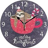 sam-shop Reloj de Pared Redondo de diseño de Pereza navideña en Taza, Pintura al óleo silenciosa sin tictac Decorativa para Arte de Reloj Escolar de Oficina en casa