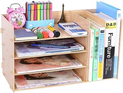 Estante para documentos de madera, escritorio para bricolaje ...