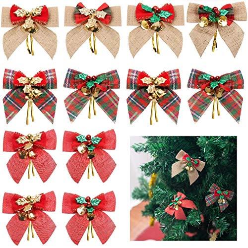 GOLRISEN 12 Stück Weihnachten Schleifen Weihnachtsbaum Deko Weihnachtsbogen mit Glöckchen Weihnachtsbaumschleifen Funkeln Geschenkschleife Zierschleifen für Geschenke Geburtstag Hochzeit Party Draußen