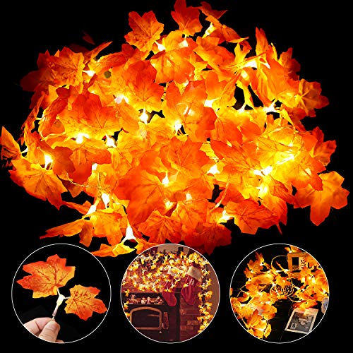Thanksgiving Decoration Lights 2 Pack Fall Maple Leaves String Lights Waterproof 20 Feet 40 LED Battery Powered Fairy Autumn Lights for Holiday Wedding Party Christmas Thanksgiving Garland Decoration