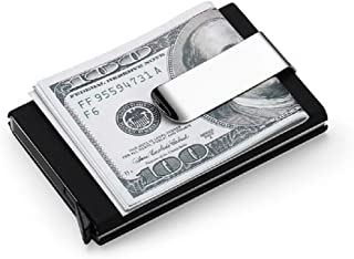 Credit Card Holder RFID Aluminum Business Card Holder Automatic Pop-up Wallet (Black with Money Clip)