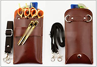 Hair Cutting Tool Beauty Tools Pouch Leather Hair Stylist Scissors Holster Pouch Mini Barber Scissor Bag Hairdressing Tool (Color : Coffee)