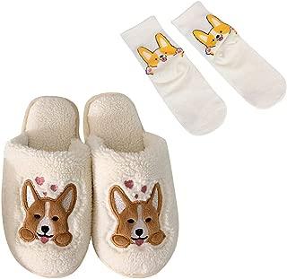 BuryTony Women's Corgi Slippers Winter Plush Dog Slippers Adult Cartoon Slippers Beige US Size7