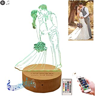 16 Color Custom Photo 3D Lamp with Bluetooth Music Player Personalized Light Best Gifts Wedding Anniversary Christmas Birthday Gifts