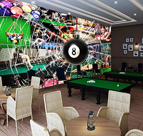 WGBHQ 3D Wallpaper Self-Adhesive Mural Sticker - Three-Dimensional Billiard Pool Table Family Living Room Bedroom Office Children Room Decoration Wallpaper Background Mural Modern (W)300x(H)210cm