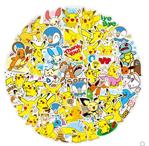JZLMF Pikachu Autocollants Pokémon Pokemon Autocollants Mot de Passe boîte Autocollants marée Marque Bagages Autocollants 80 pièces