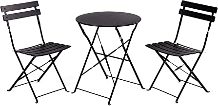 Casamudo Patio Bistro Table Set, Folding Porch and Balcony Furniture, Outdoor Patio Chairs and Table Set, Outdoor Bistro S...