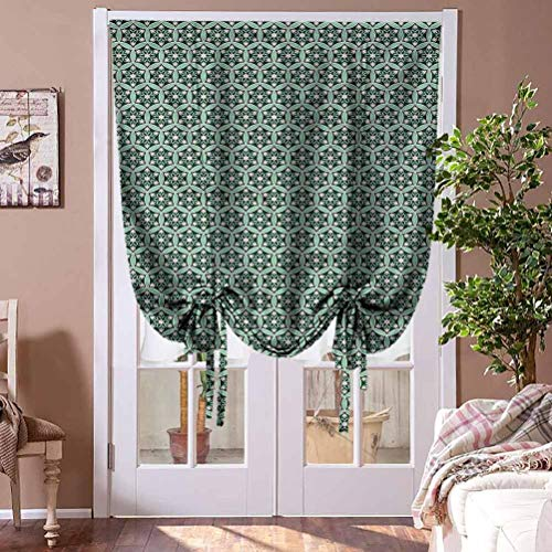 HouseLookHome Roman Shades Curtains Oriental Window Blind Fabric Curtain Drapery Middle East Circle Pattern Blind for Living Room Rod Pocket Panel, 39' W x 63' L