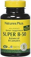 NaturesPlus Super B50-90 Vegetarian Capsules - High Potency B Complex Vitamin Supplement - Brain & Energy Booster - Gluten-Free - 90 Servings