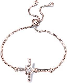 Faith Cross Adjustable Slider Bracelet Christian Bracelet Religious Jewelry Gift for Her