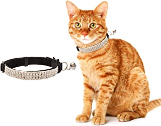 BINGPET Cat Collar Breakaway with Bell - Bling Rhinestones and Safety Buckle Collar for Cats, Adjustable