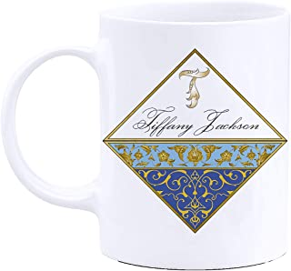 Personalized Coffee Mug Gifts with Your Name- Fine Art Design Series - 11oz Cup with Matching Coaster - Birthday Gifts, Mothers Day Gifts, Father's Day Gifts, Christmas Gifts (Golden Frame)