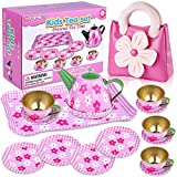 GINMIC Pretend Play Tea Party Set for Little Girls, Tin Tea Set with Pink Party Purse, Perfect Pretend Toys Mini Kitchen Playset for Toddlers, Kids and Little Girls Age 3 4 5 6 7 Years