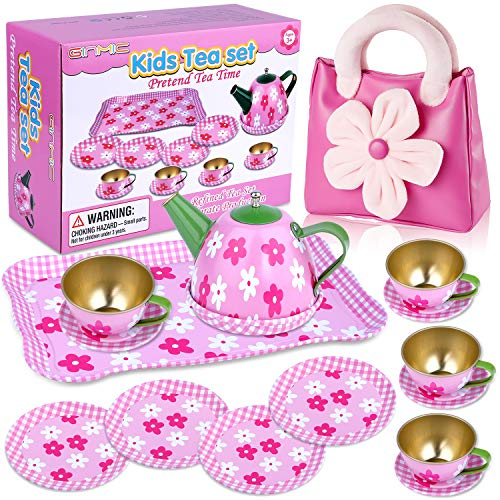 GINMIC Pretend Play Tea Party Set for Little Girls, Tin Tea Set with Pink Party Purse, Perfect Pretend Toys Mini Kitchen Playset for Toddlers, Kids and Little Girls Age 2 3 4 5 6 7 Years